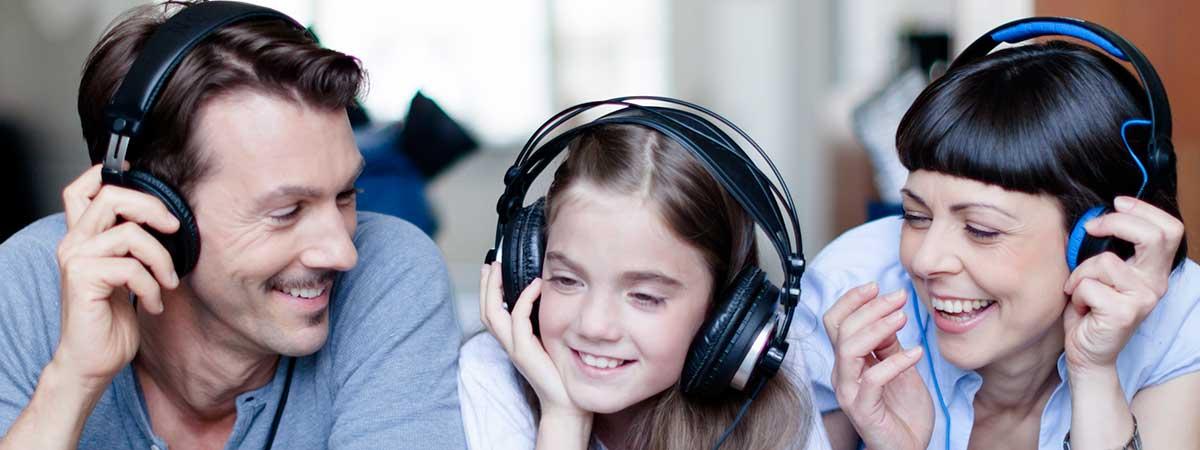 Family wearing headphones
