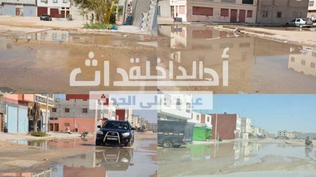 إنفجار أنبوب ماء يُحوّل شوارع حي النهضة إلى برك مائية والمجلس البلدي آوت