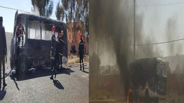 خطير … النيران تلتهم حافلة بكلميم
