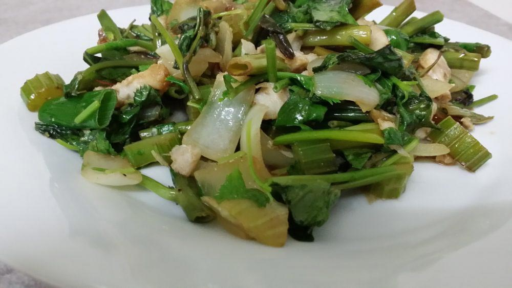Paleo style stir fried kangkong and whiting