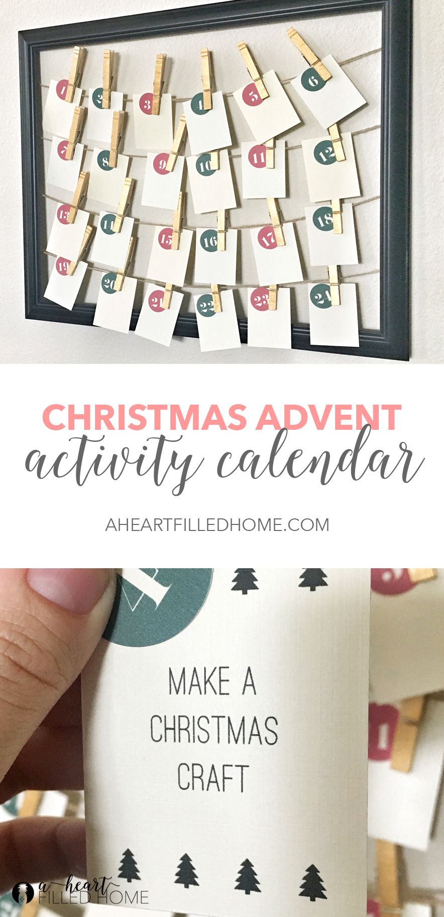Printable Christmas Advent Activity Calendar from aheartfilledhome.com. Visit to download your free printable calendar!