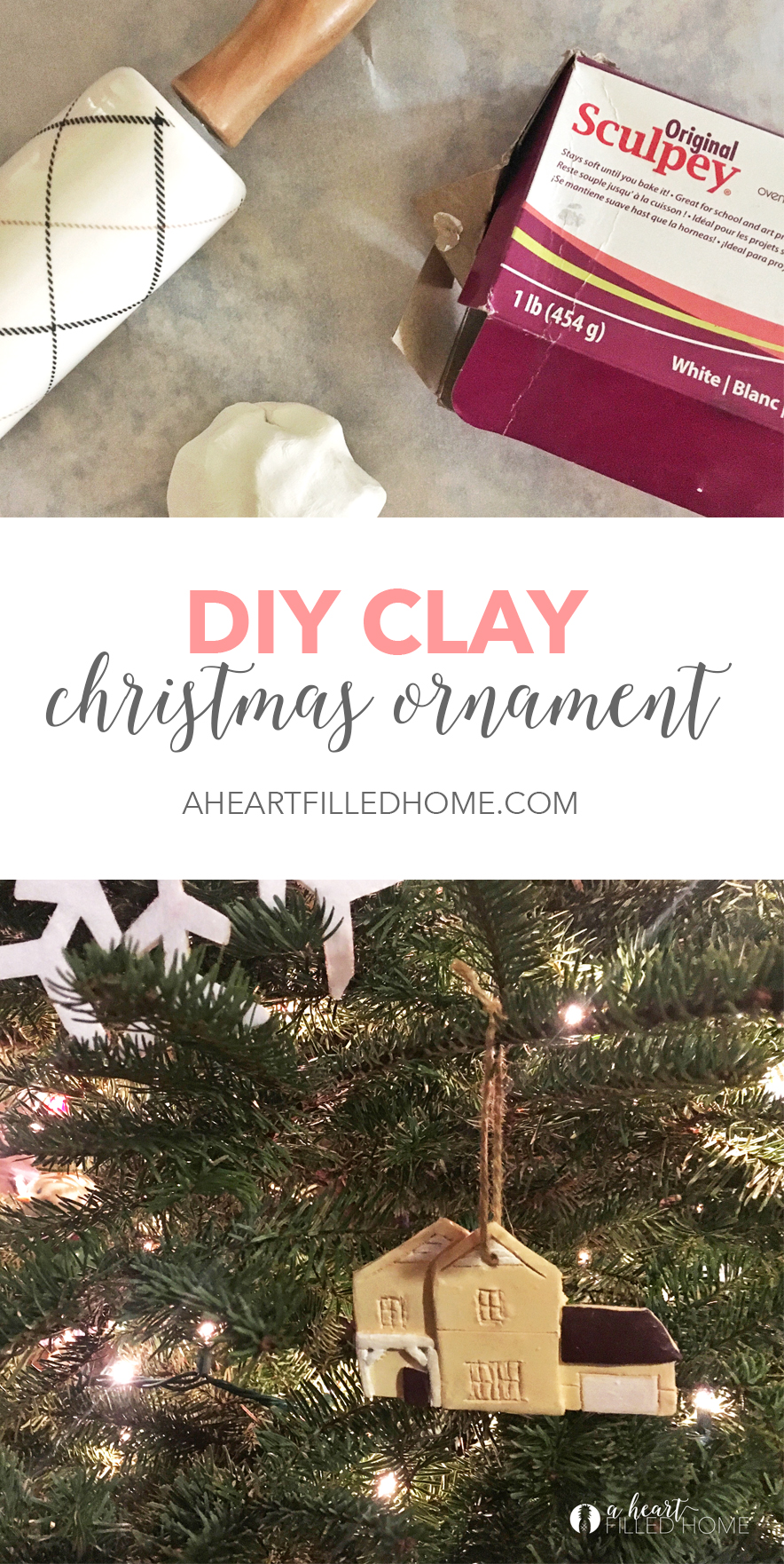 DIY Clay Christmas Ornament from aheartfilledhome.com
