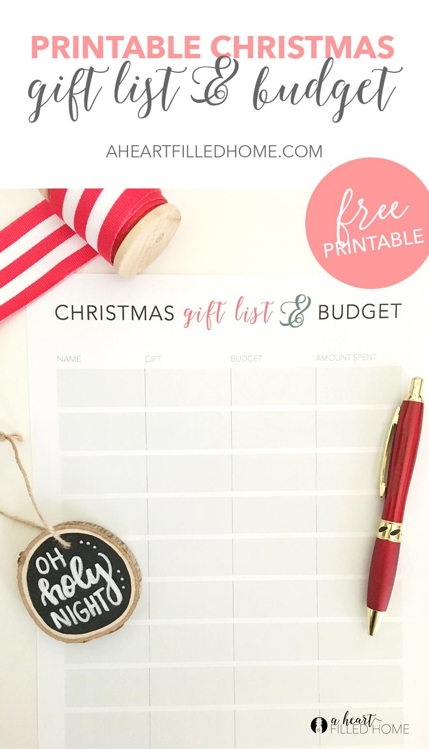photo about Printable Christmas Gift List identified as Totally free Printable Xmas Reward Record Spending plan Tracker - A