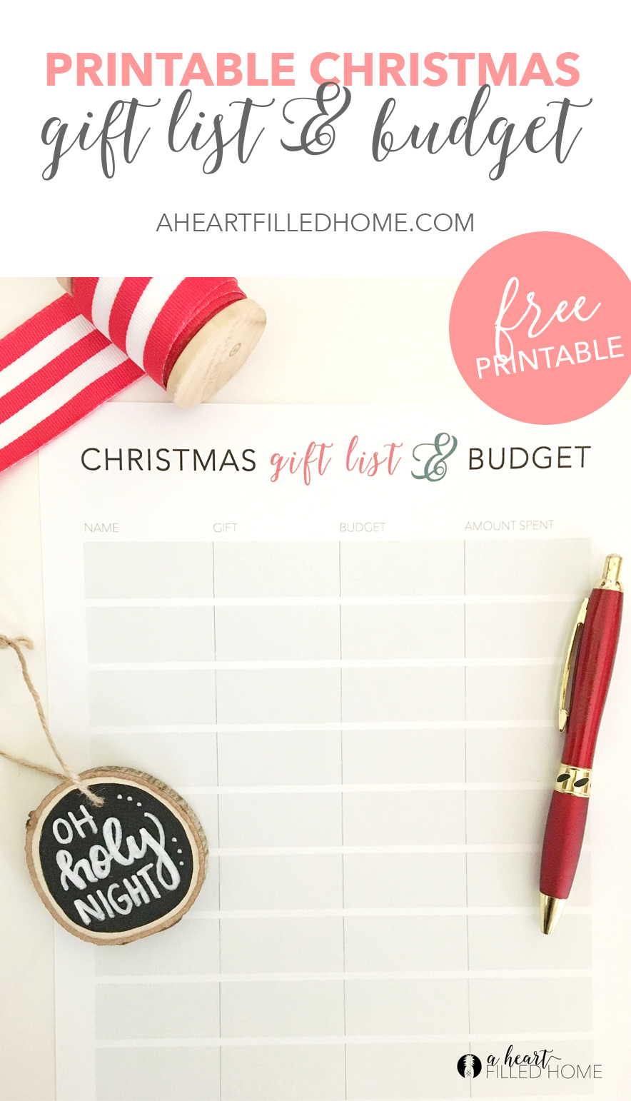 Christmas Gift List & Budget - Free Printable! Visit aheartfilledhome.com for your free printable!