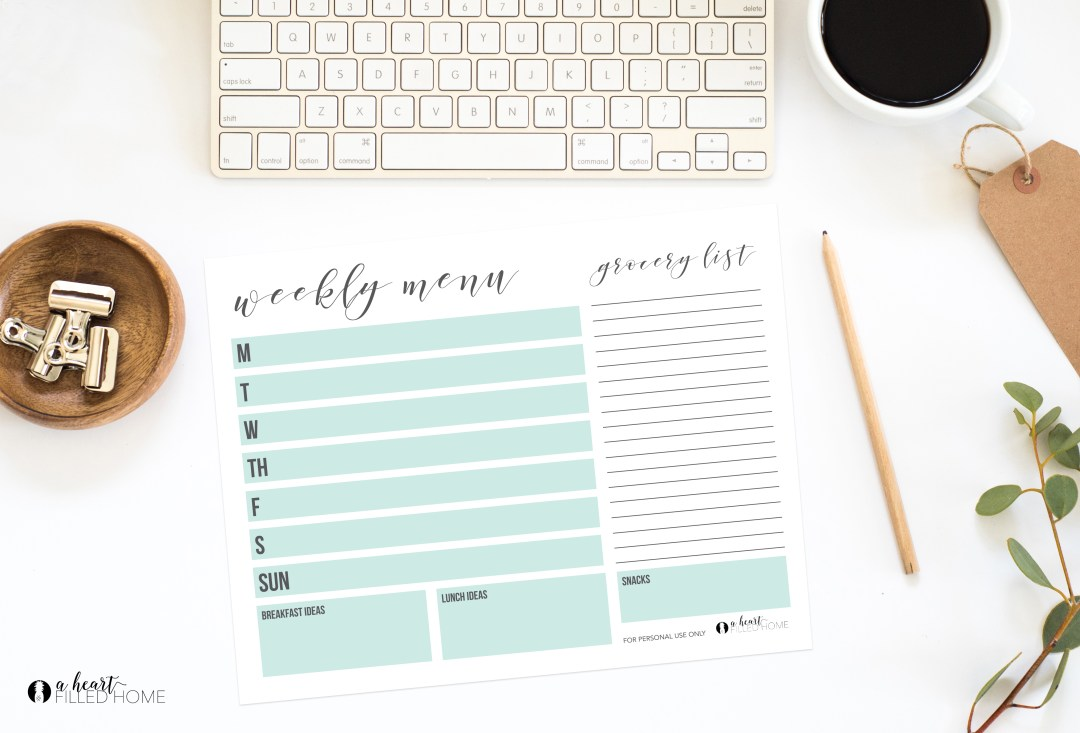 Save Money by Meal Planning! Tips and a free weekly menu planning printable from A Heart Filled Home. Visit aheartfilledhome.com for your free printable!