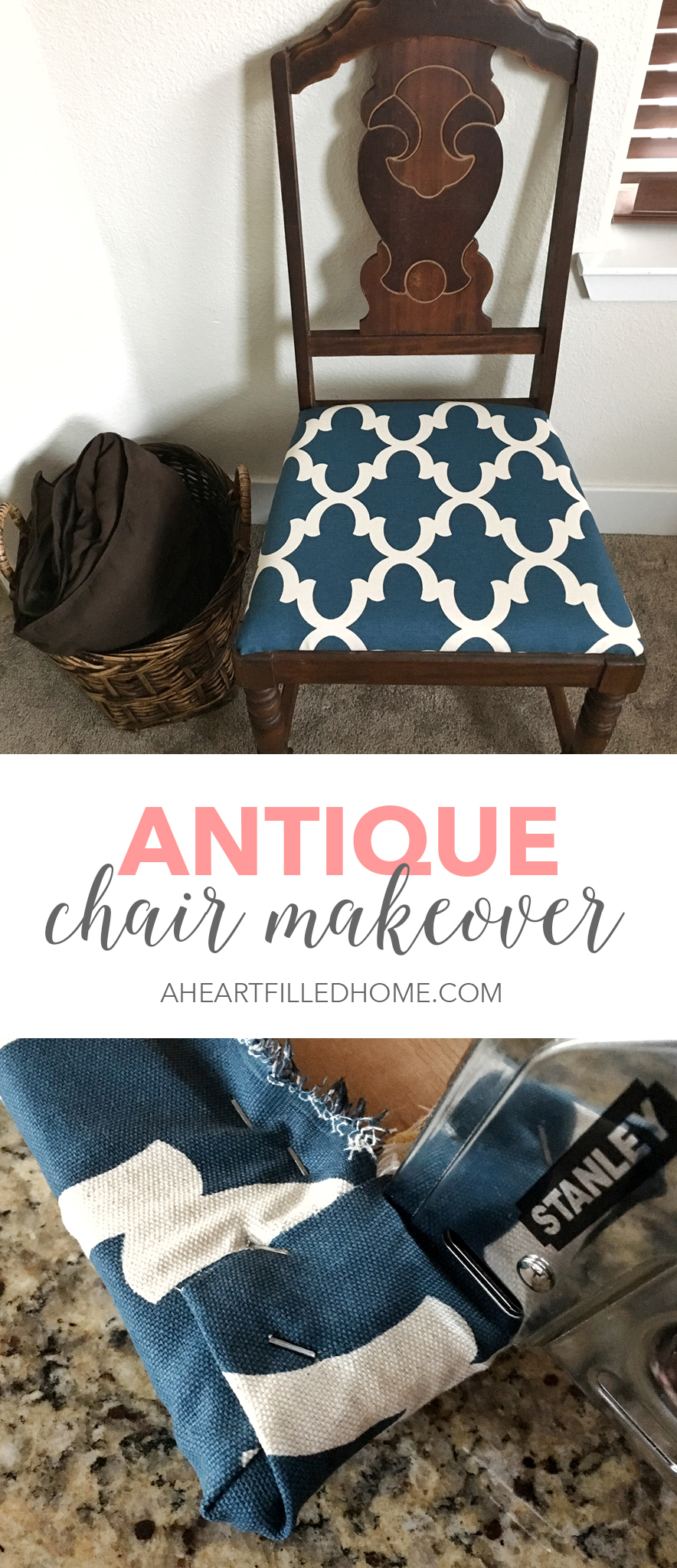 Antique Chair Makeover from A Heart Filled Home. Click to get the full makeover details and tutorial from aheartfilledhome.com