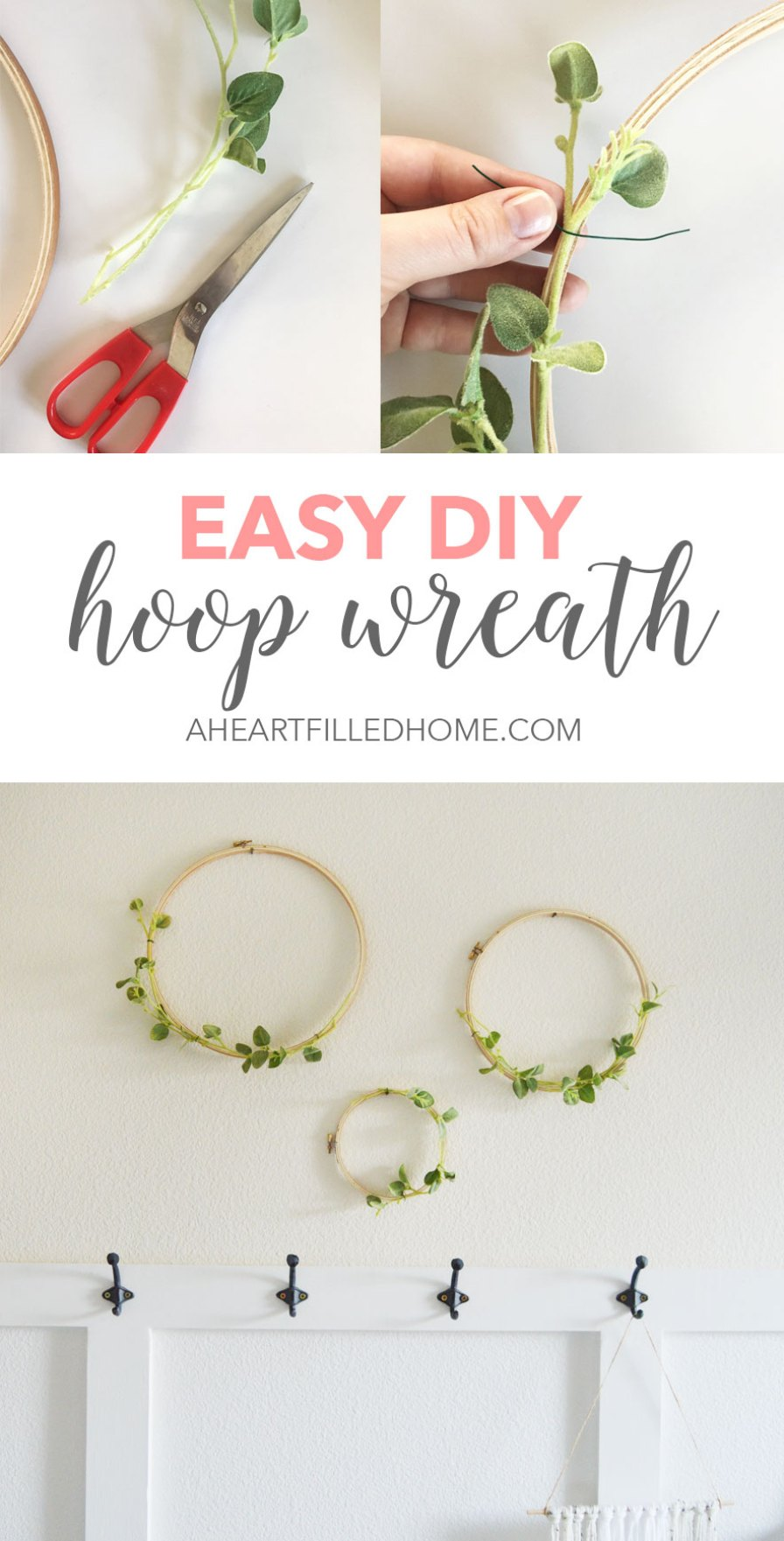 This DIY hoop wreath is so simple and easy to make! Find the tutorial at aheartfilledhome.com