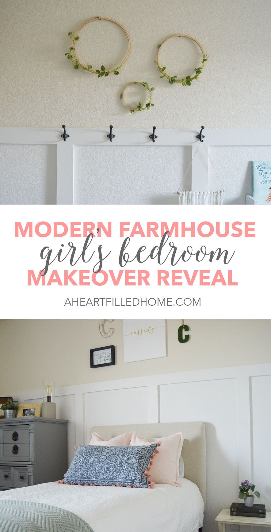 This modern farmhouse girl's bedroom looks beautiful! So many beautiful rustic and neutral decor ideas! Find it at aheartfilledhome.com
