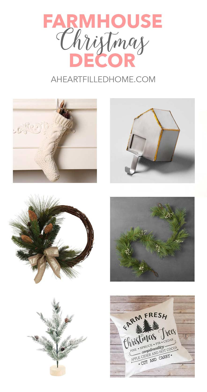 Budget Friendly Farmhouse Style Christmas Home Decor Finds - So many beautiful and affordable options! from aheartfilledhome.com