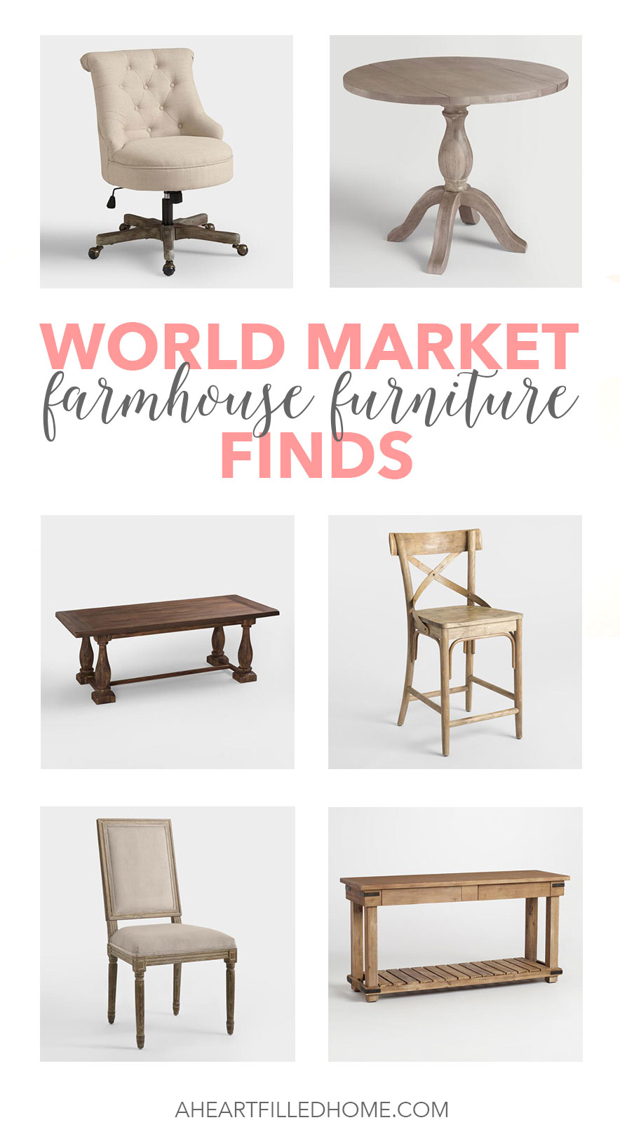These are some amazing farmhouse furniture finds from World Market! From aheartfilledhome.com
