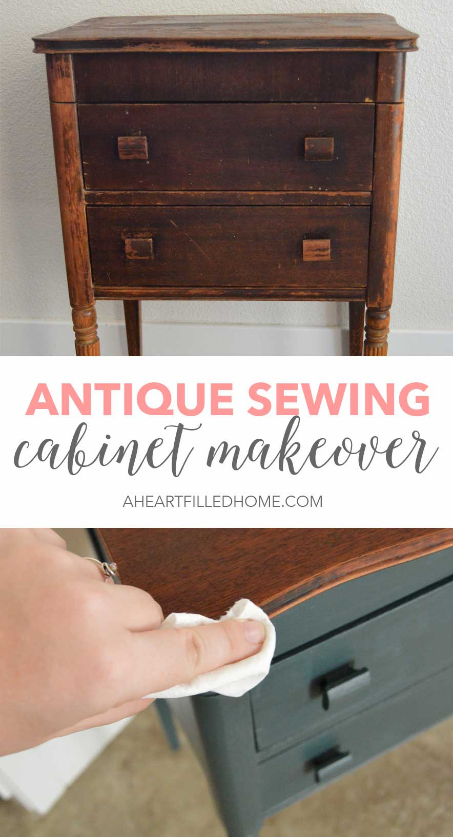 This Antique Sewing Cabinet Got A Beautiful Makeover! Using Paint, Clear  Coat And Hemp