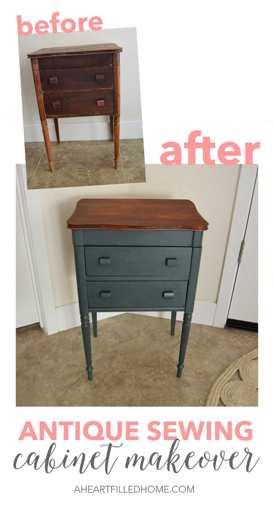 This antique sewing cabinet got a beautiful makeover! Using paint, clear coat and hemp oil gave it a whole new look!