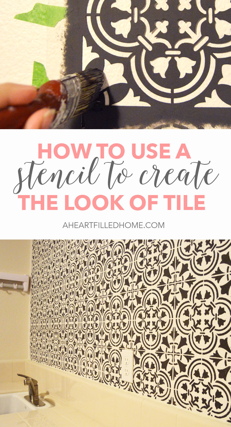 How to use a stencil to create the look of tile. This is such a budget friendly way to create a bold accent wall in your home!
