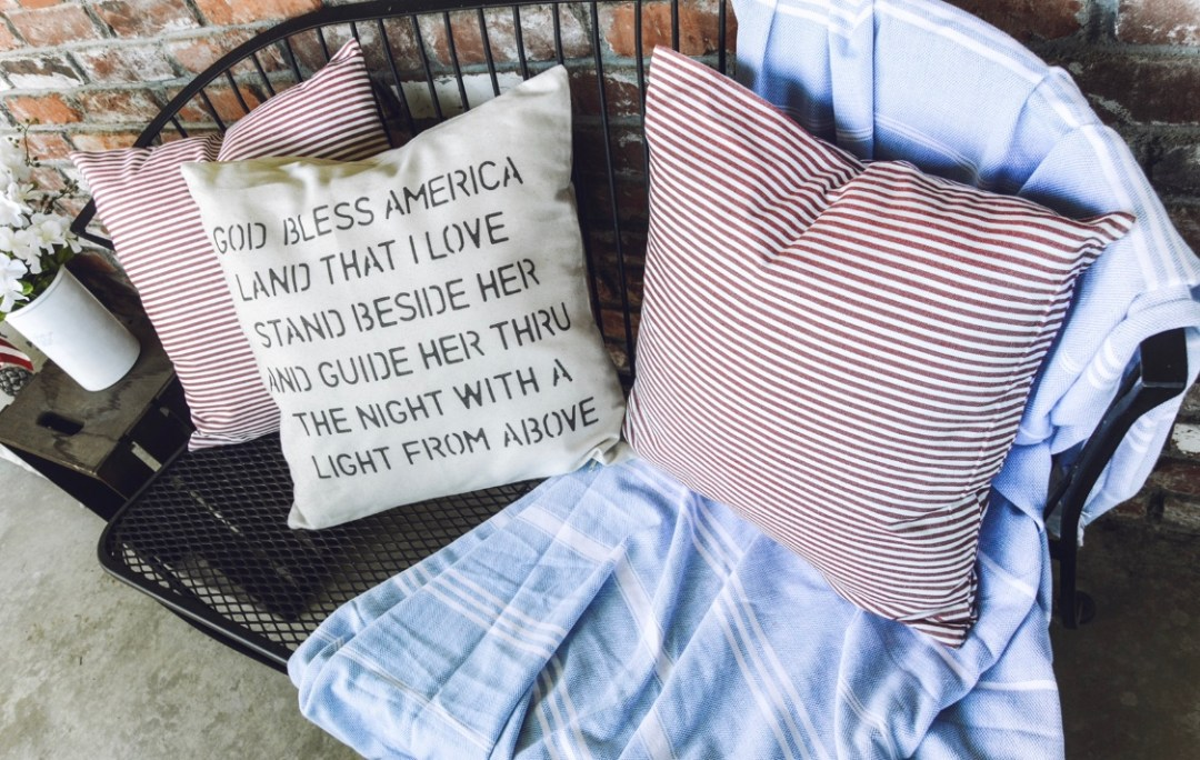 How to add patriotic outdoor decor to your front porch! I'm sharing some simple and budget friendly ways to add patriotic touches to your front porch! from A Heart Filled Home
