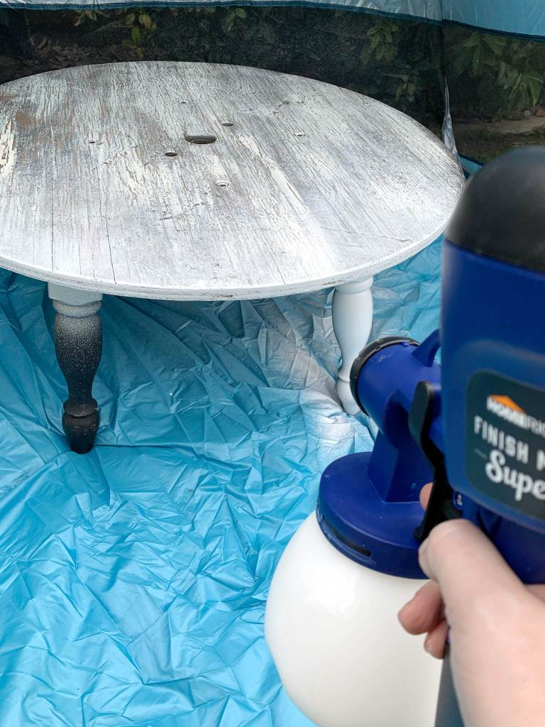 Coffee Table Makeover + Homeright Paint Sprayer Review from A Heart Filled Home