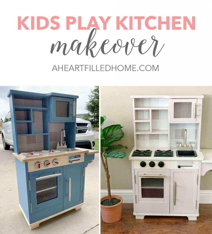 Kids Play Kitchen Makeover - such a budget friendly way to update a kids play kitchen! from A Heart Filled Home