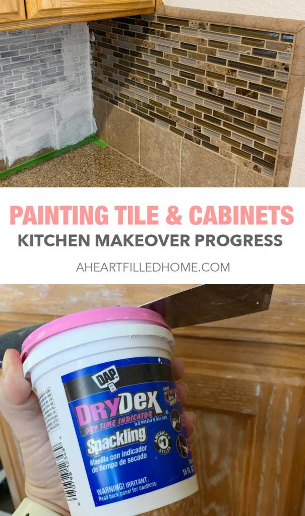 Painting Tile & Painting Cabinets - Kitchen Makeover Progress from A Heart Filled Home