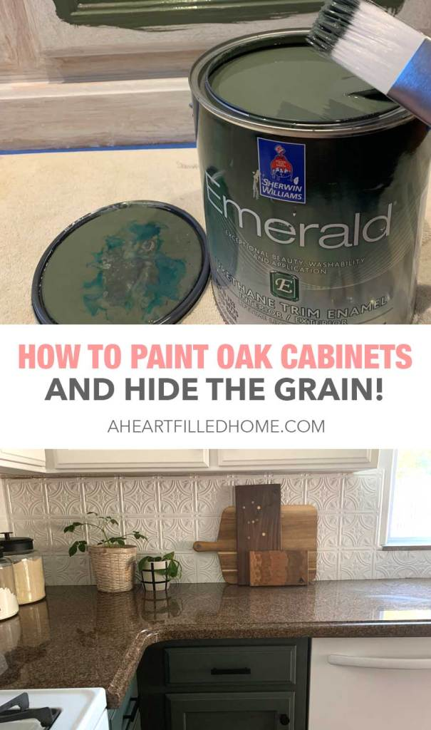 How To Paint Oak Cabinets And Hide The Grain - A Heart Filled Home Kitchen Makeover
