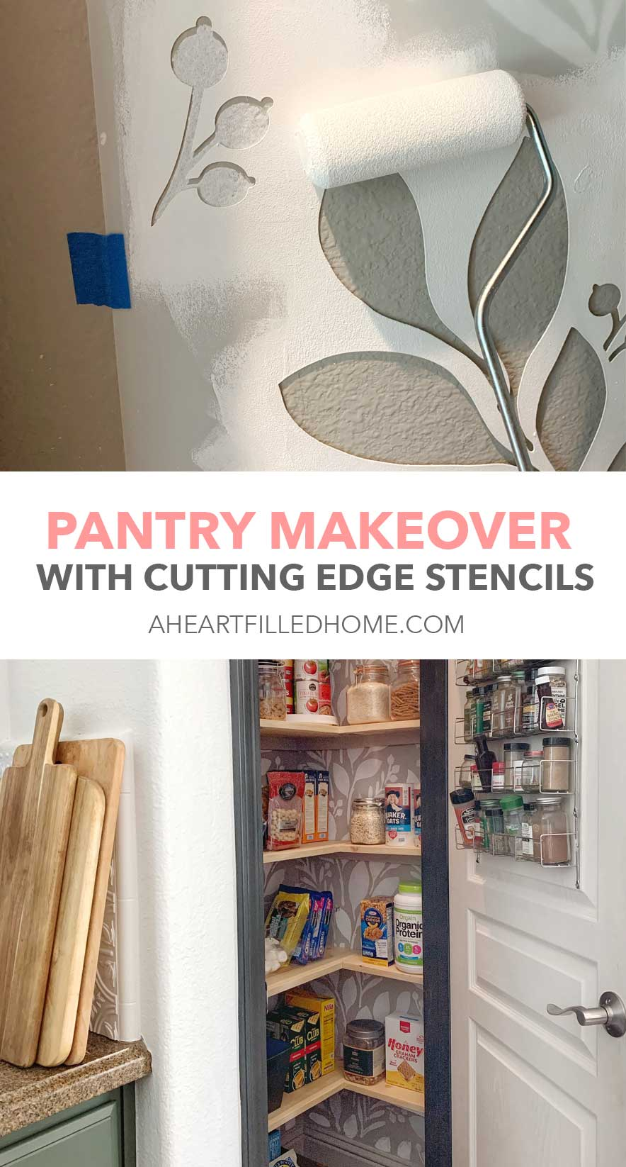 Pantry Makeover with Cutting Edge Stencils from A Heart Filled Home