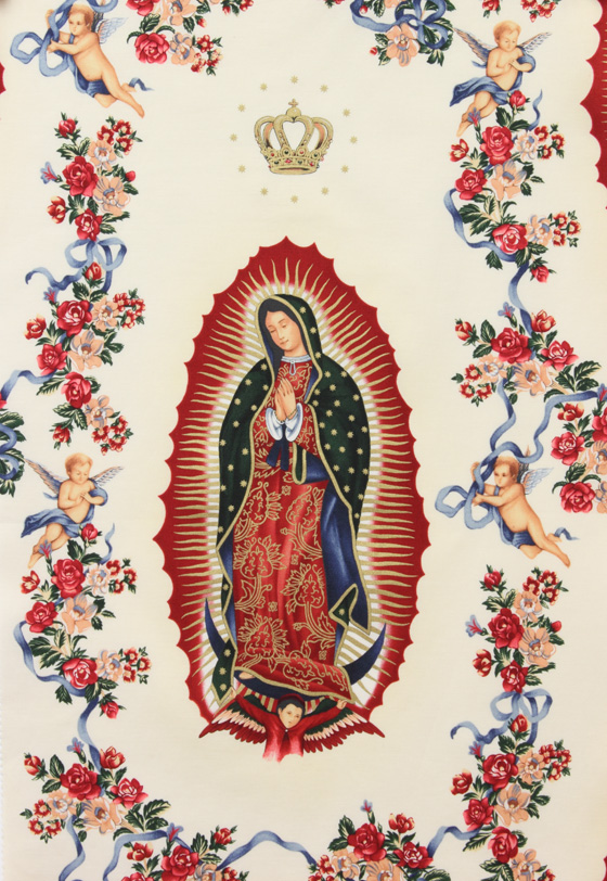 Fabric design depicting the Virgin of Guadalupe, a Mexican apparition of the Virgin Mary.