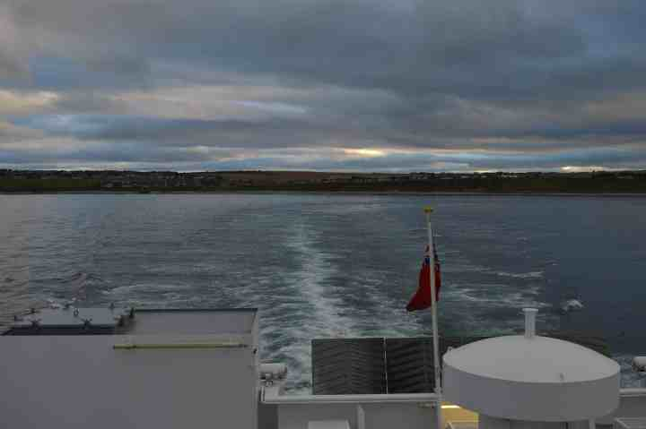 A view of Thurso from MV Hamnavoe leaving Scrabster.