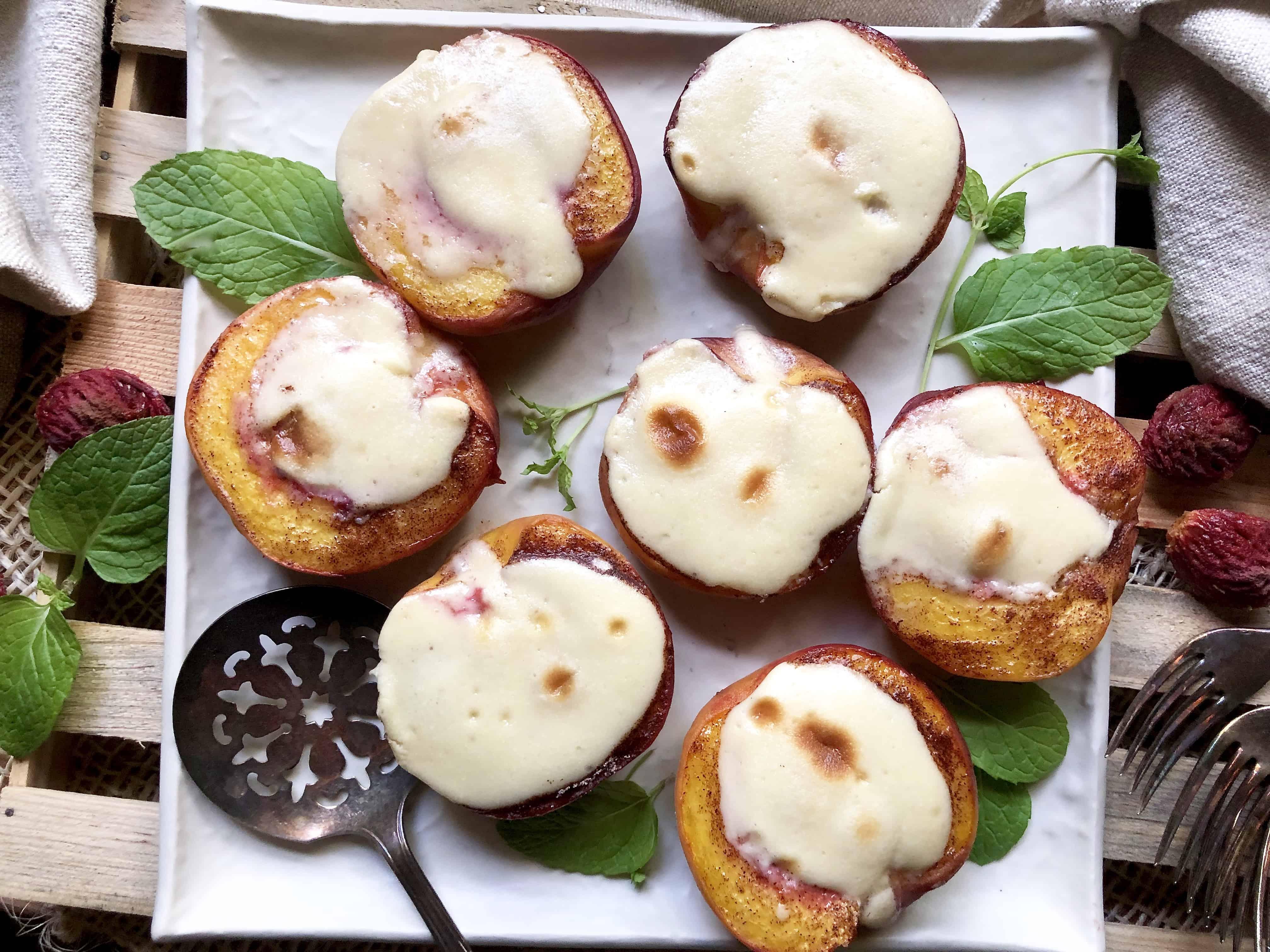 cheesecake-stuffed peach halves
