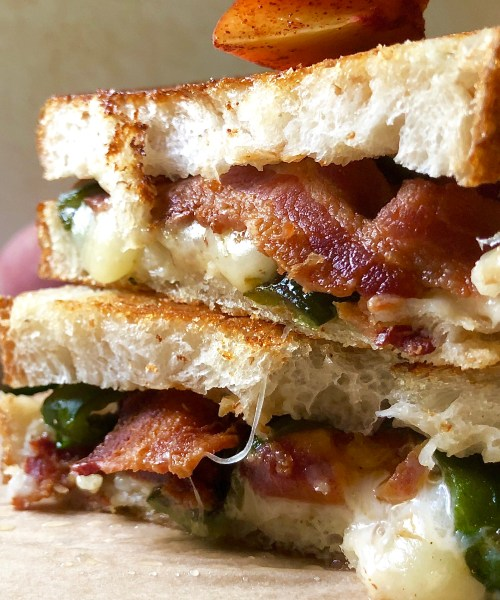 smashed peach & poblano grilled cheese