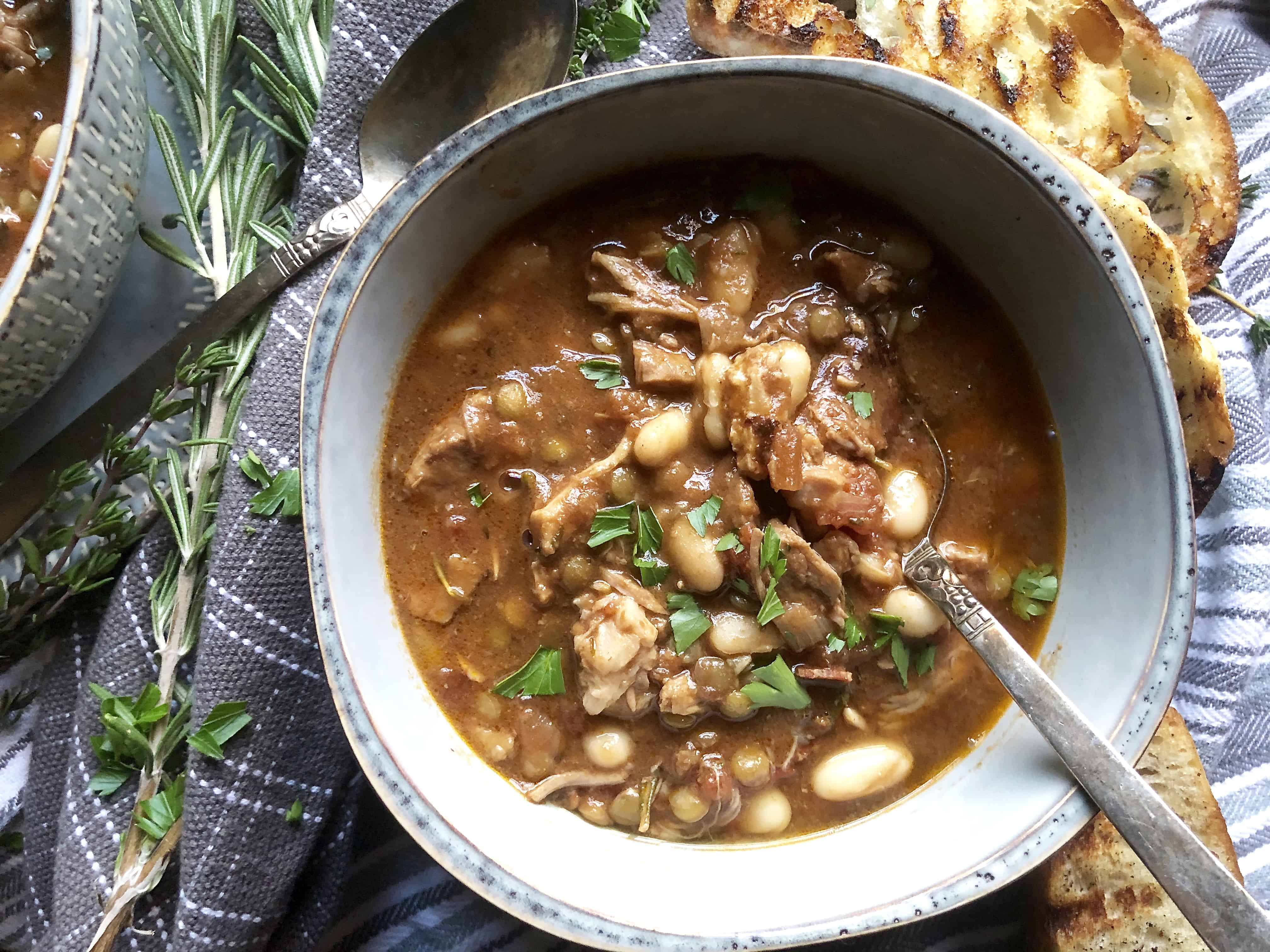 white bean cassoulet with pork & lentils