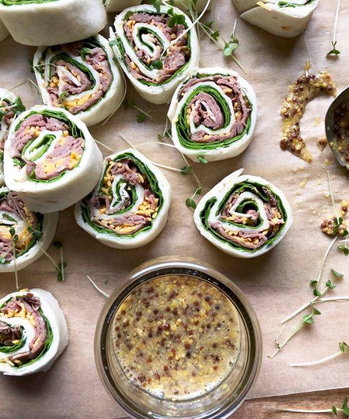 make-ahead roast beef roll-ups with horseradish spread