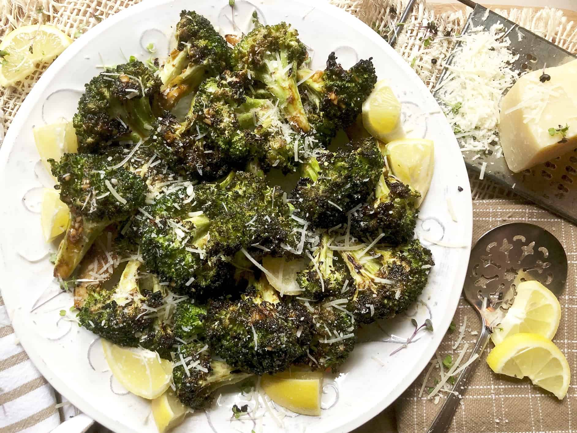grilled marinated broccoli spears