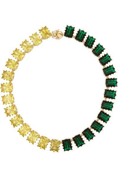 قلادة ذهبية للسهرة مرصعة بفصوص باللون الأخضر والأصفر من ايدي بورغو Eddie Borgo.