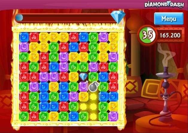 لعبة Diamond Dash تطبيق أندرويد لعبة ألغاز شاركها على الفيسبوك
