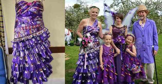 بالصور عاشقة الشوكولاتة صممت فستان زفافها من أغلفة الشوكولاتة