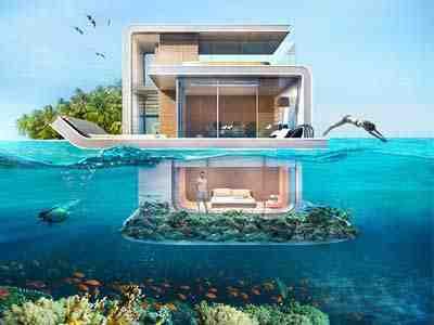 فلل عائمة في البحر من اكثر العقارات فخامة في دبي قريبا