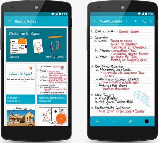 تطبيق كتابة ملاحظات بخط اليد وميزات رائعة تطبيق Squid