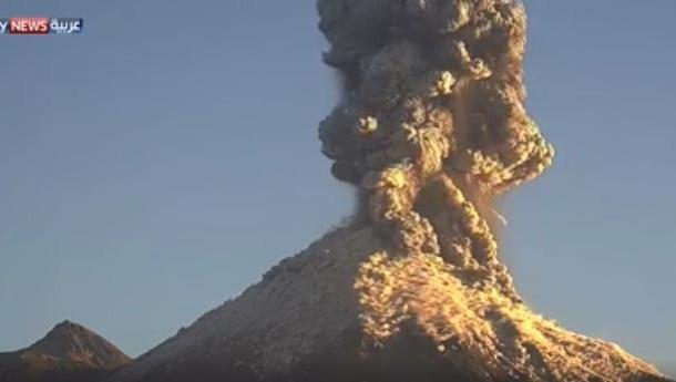 فيديو انفجار بركان المكسيك الضخم شاهد اللقطات الأولى من ثوران البركان