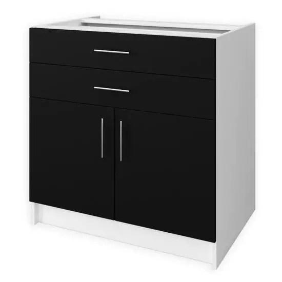 meuble bas de cuisine l 80 cm noir