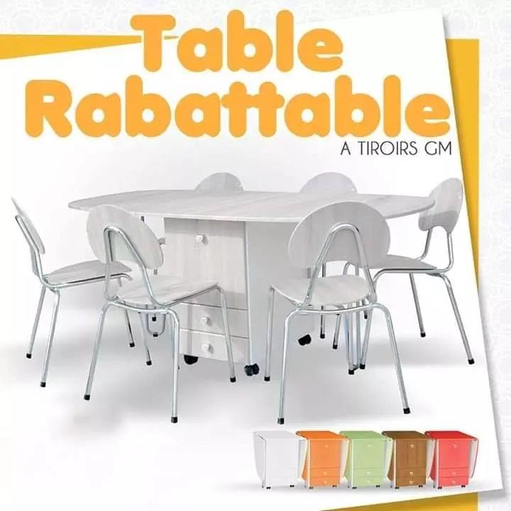 table pliante a tiroirs gm