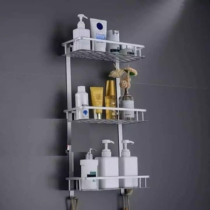 emaz etagere droite pour salle de bain en aluminium