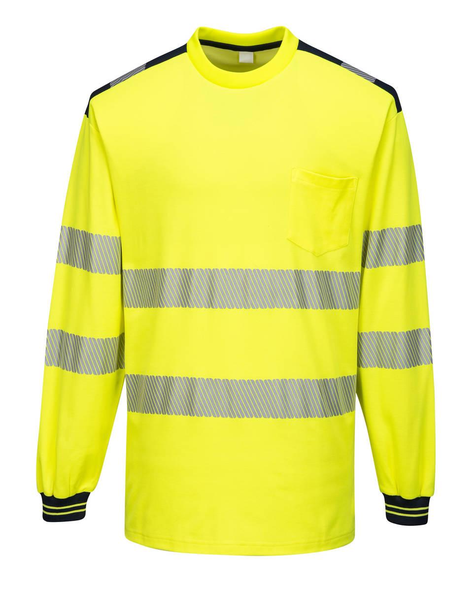 Portwest T185 Hi-Vis pitkähihainen paita LK3 keltainen/musta 5XL