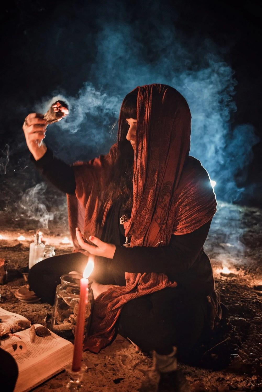 award winning mystical creative portrait session burning sage