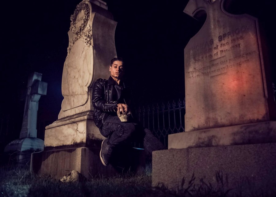 halloween graveyard skull biker leather studs spikes dead spooky tombstone ahnvee Louisiana