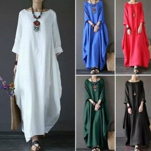 Aliexpress Amazon Spring Explosion Large Size Loose Round Neck Sleeve Long Swing Dress