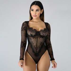 AliExpress Explosion Style Sexy Heavy Craft Lace Screen Yarn Splicing Embroidery Sexy Lingerie Bodysuit