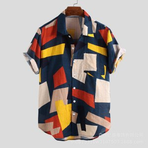 Amazon's new printed men's summer beach short-sleeved men's printed shirt four colors
