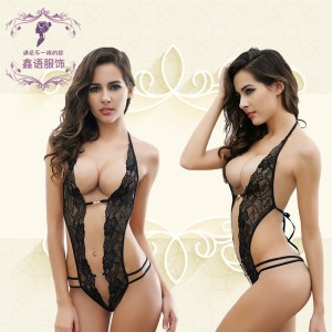 AliExpress Amazon explosion models sexy temptation sexy lingerie female perspective sculpting lace sexy pajamas