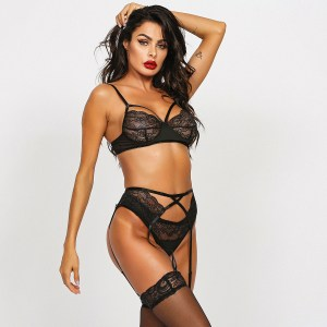 Amazon hot sale lace lace stitching sexy lingerie three-piece suit spot