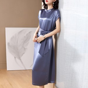 Acetate Dress Spring and Summer Women's Fashion High-end Heavy Imported Triacetate Temperament Midi