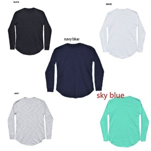 autumn new men's solid color bottoming shirt slim round neck men's long-sleeved shirt AliExpress explosive men's