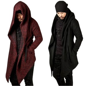 Amazon explosive solid color men's hooded irregular hem coat